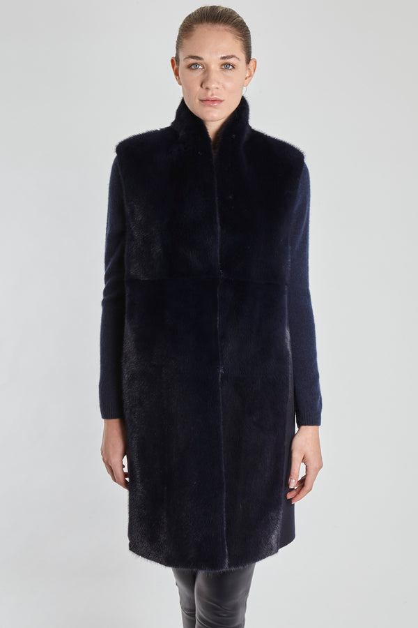 MINK VEST WITH LORO PIANA FABRIC-BLU NAVY