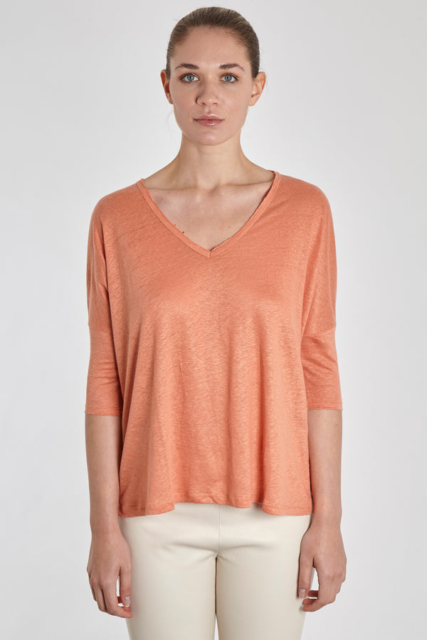 PONCHO V NECK-TERRACOTTA