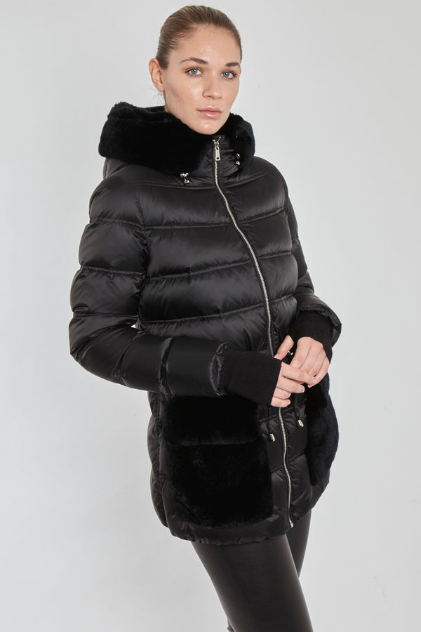 SHORT PUFFER WITH REX POCKETS-BLACK