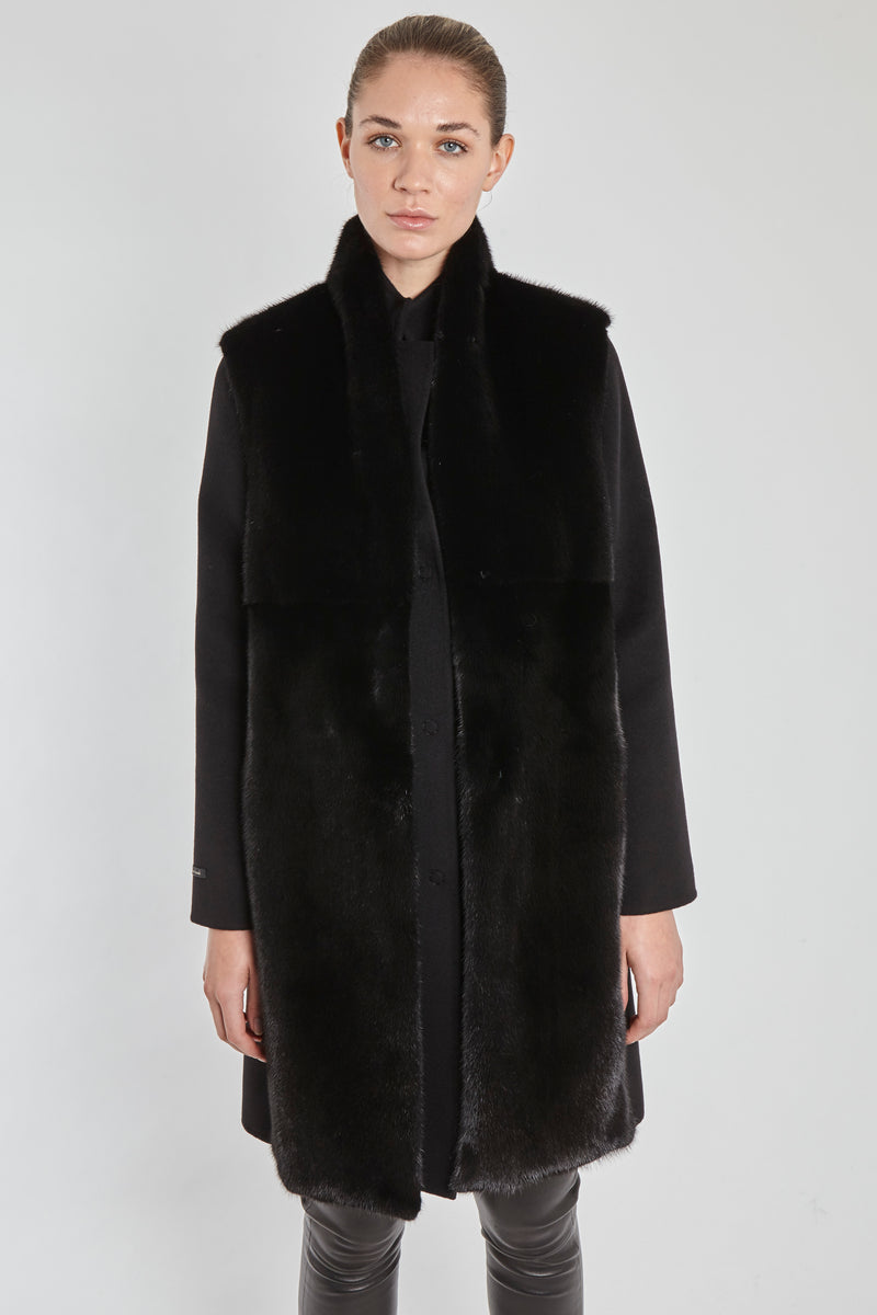 MINK VEST WITH LORO PIANA CASHMERE-BLACK