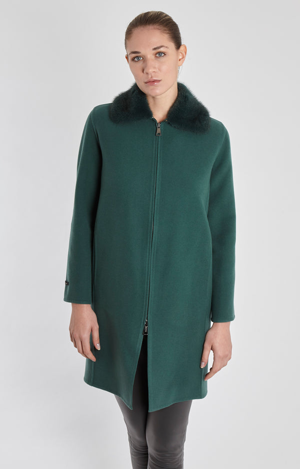 VELOUR COAT WITH MINK COLLAR-EUCALIPTO