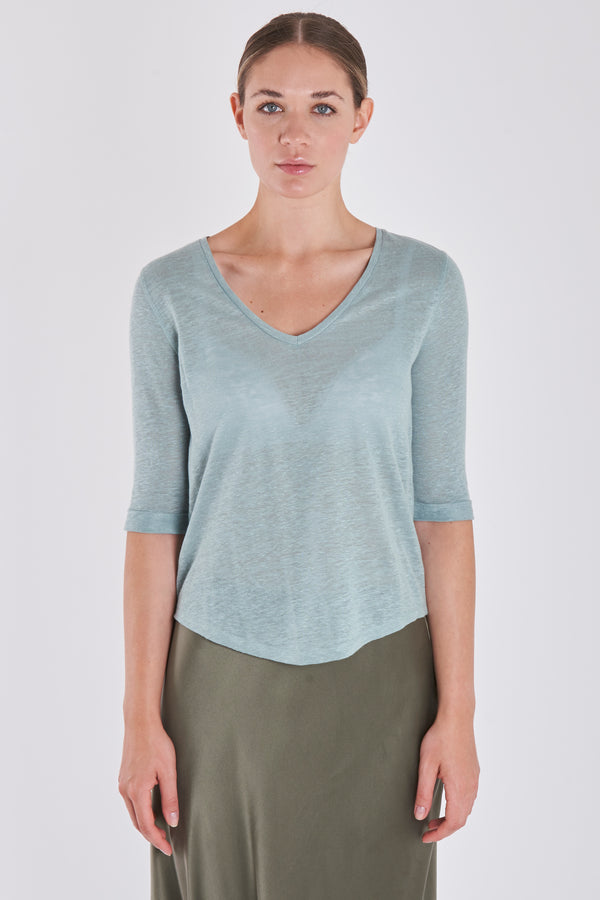 TEE SHIRT V NECK-CELADON