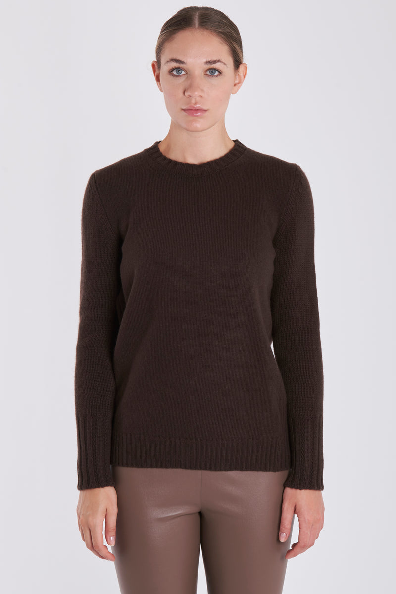 ROUND NECK JUMPER-MARRON GLACE