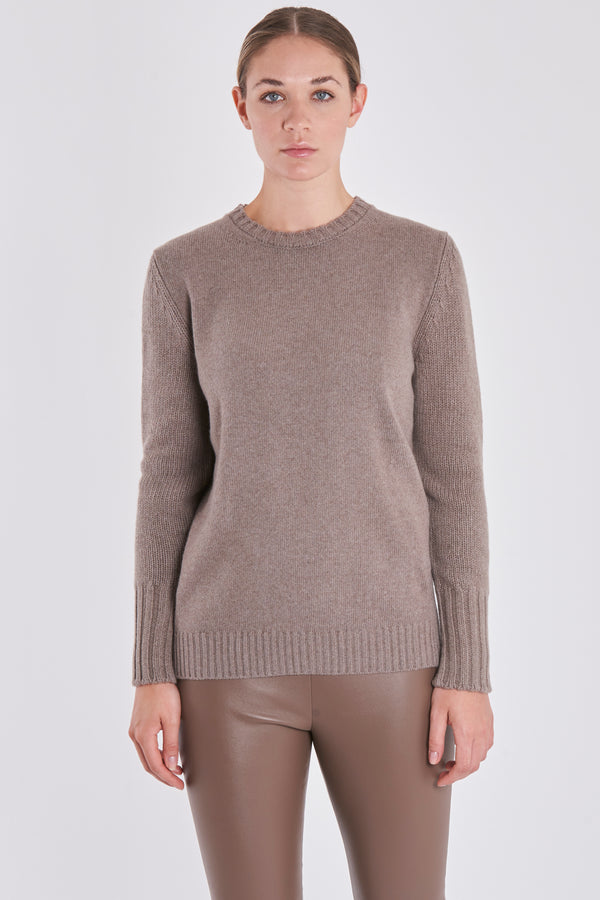 ROUND NECK JUMPER-TAUPE