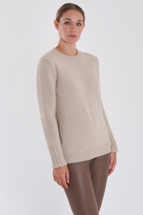ROUND NECK JUMPER-BEIGE