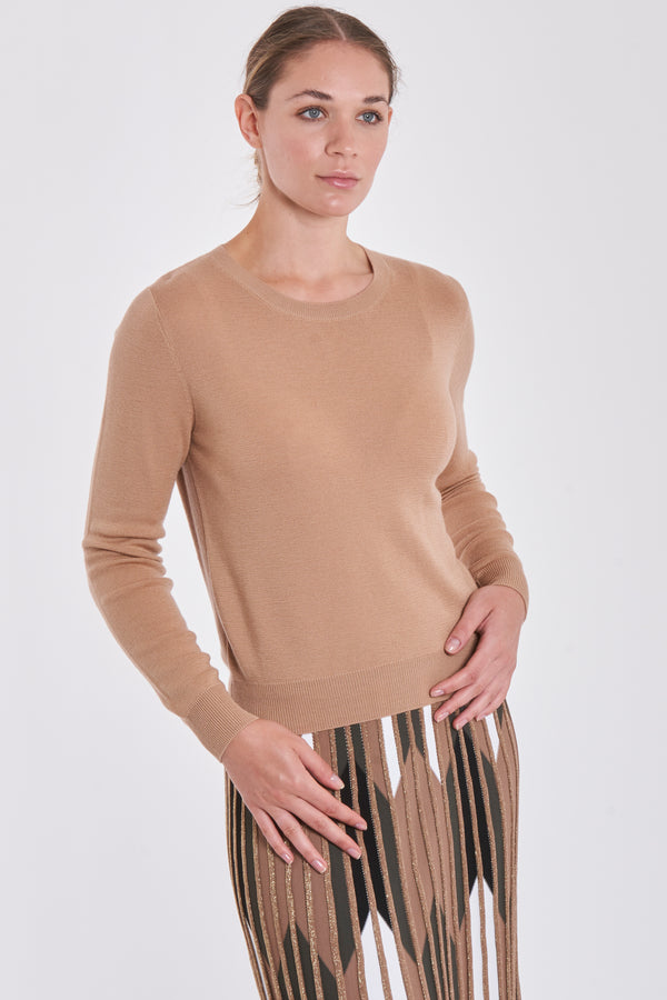 FITTED JUMPER ROUND NECK-CAMEL