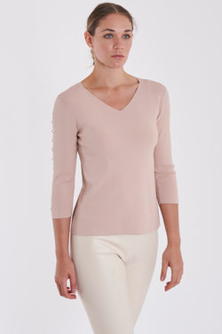 LONG ZIG ZAG TOP - NUDE
