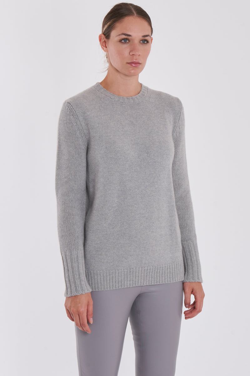ROUND NECK JUMPER-LIGHT GREY