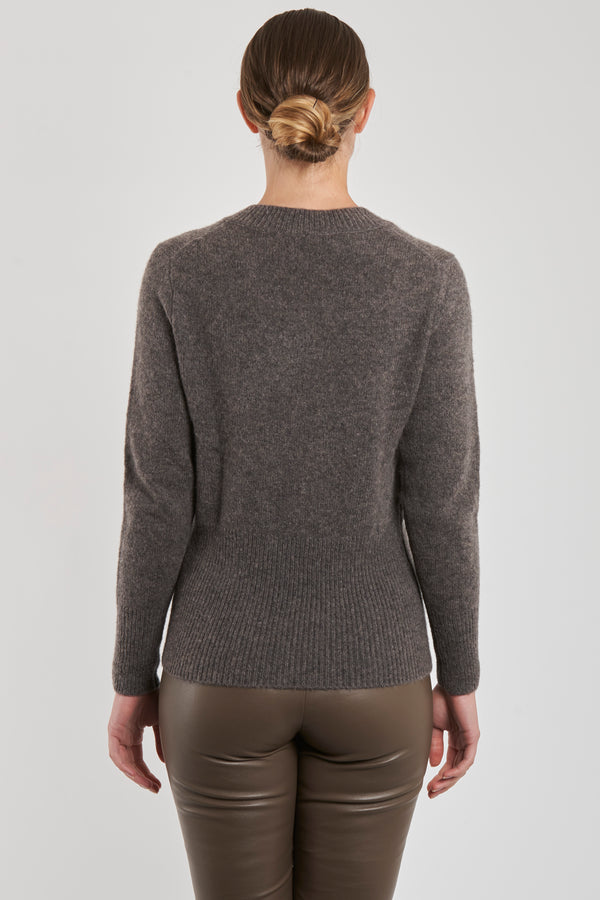 V NECK JUMPER - MUSK