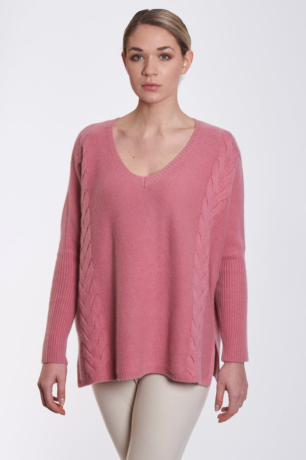 V NECK PONCHO WITH TORSADE - PINK