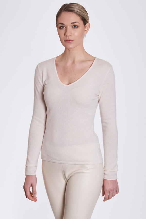 V NECK JUMPER-ECRU