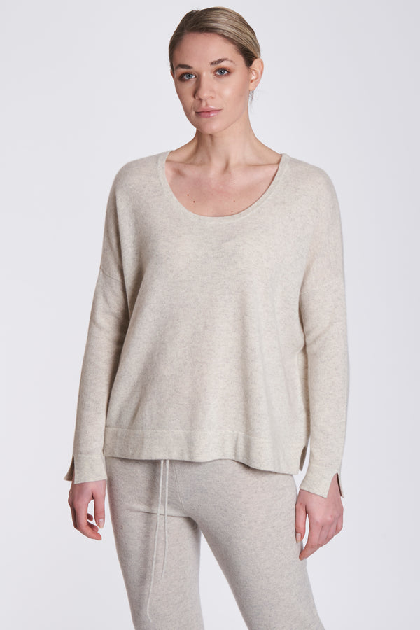 OVERSIZE ROUND NECK-WHITE CHINE