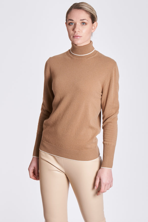 CONTRAST EDGE KNITWEAR-HONEY