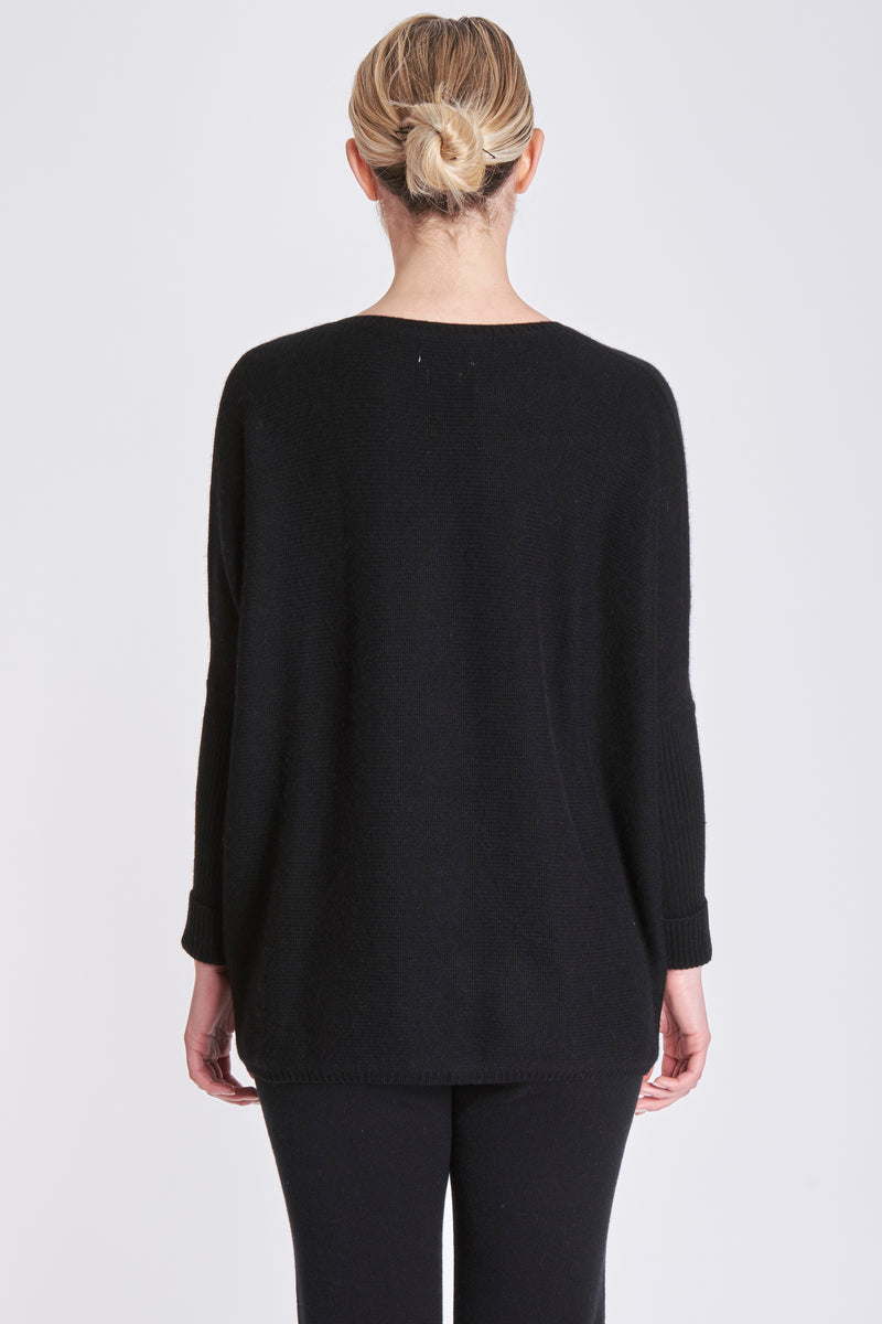 THICK PONCHO V NECK-BLACK