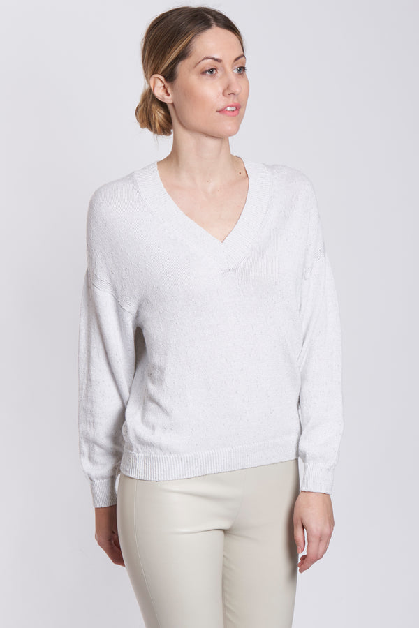 V NECK LONG SLEEVES-BIANCO