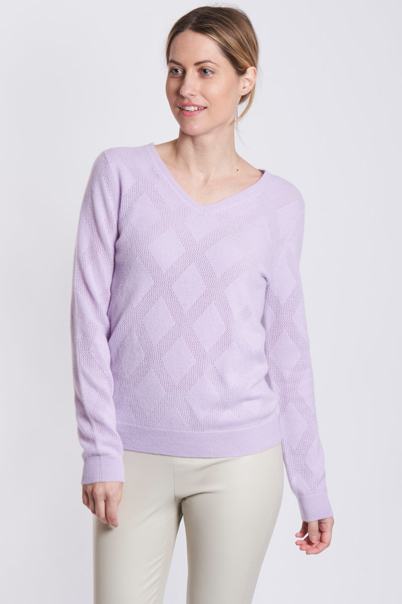 V NECK WITH DETAILS-LILAS