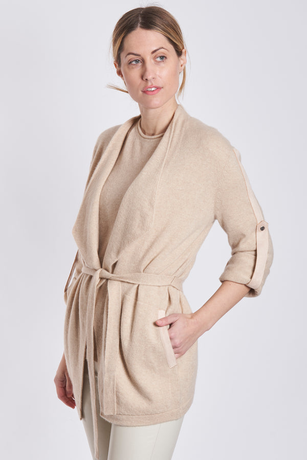 CARDIGAN WITH BELT-LATTE