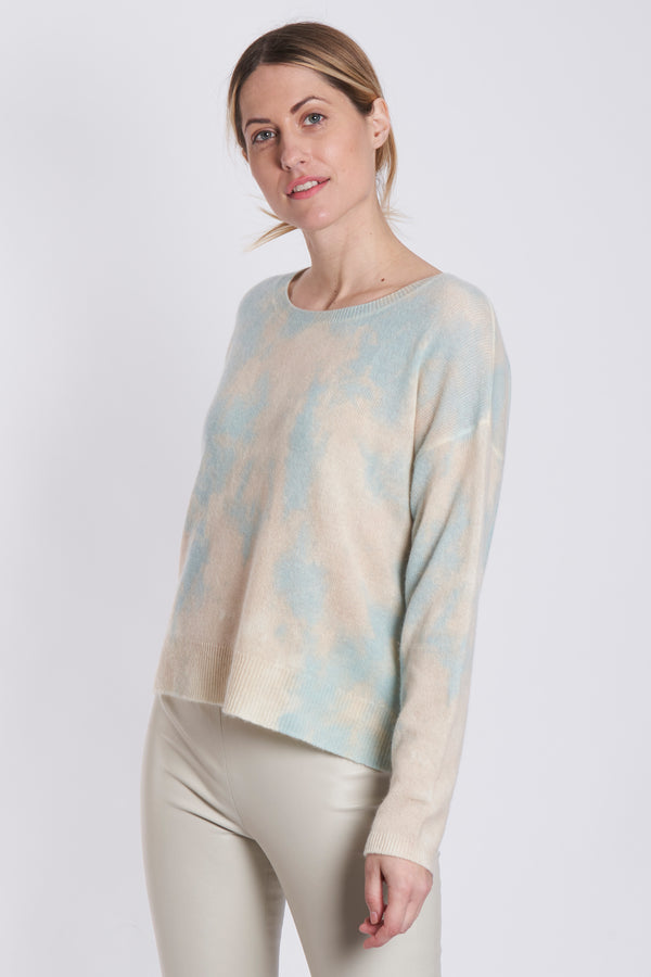 ROUND COLLAR TYE AND DYE-CREME/PRINT