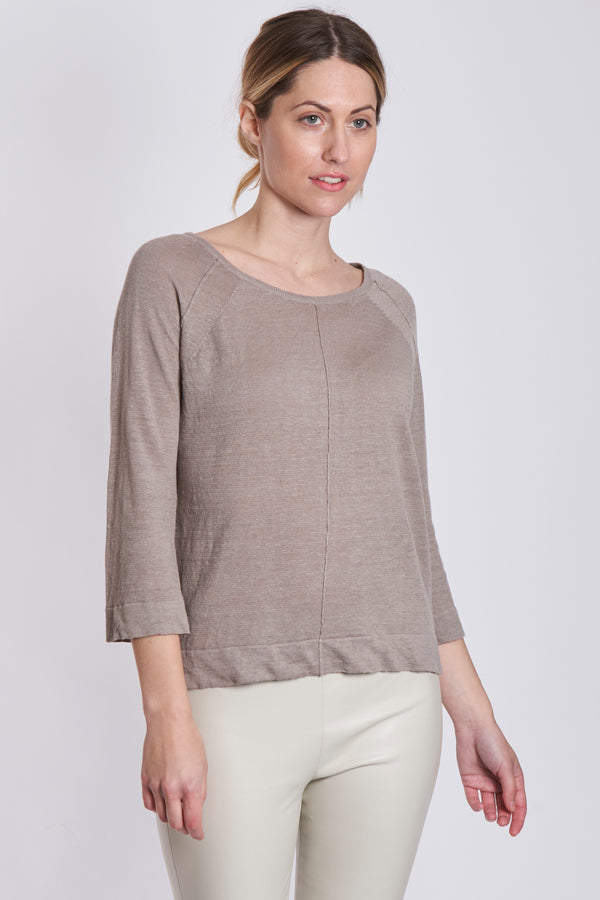 LINEN TOP 3/4 SLEEVES-OMBRE