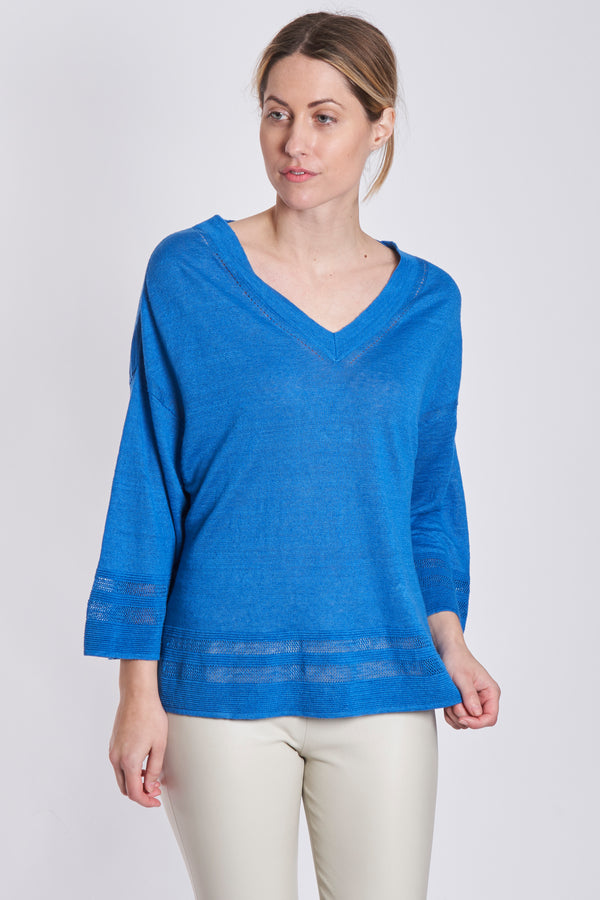 V NECK 3/4 SLEEVES-BLUETTE