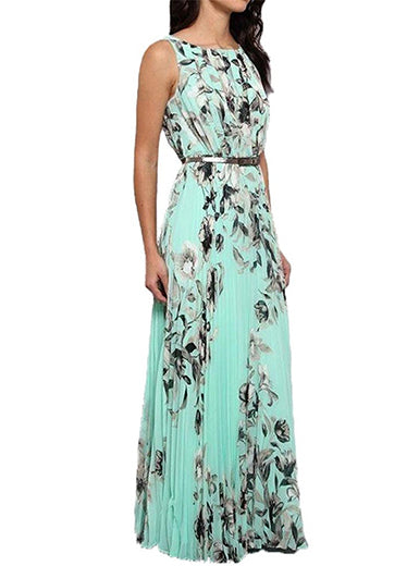 f12c790621d ... Floral Print Maxi Dress Turquoise Sleeveless Pleated Skirts Belted in  Green (Plus size) ...