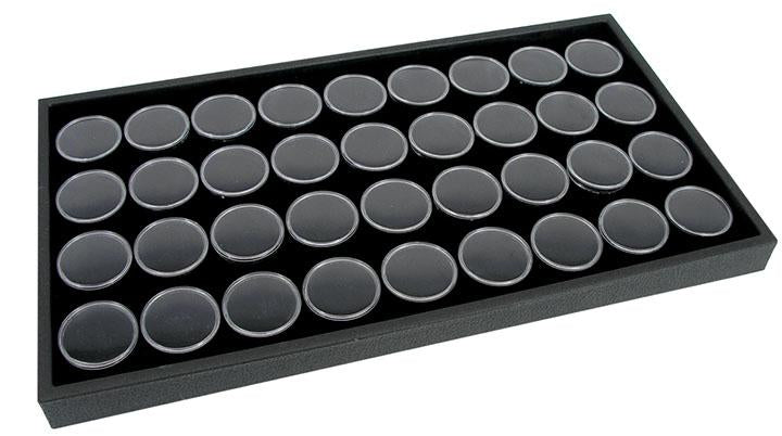 14 x 8 DISPLAY TRAY WITH 36 GEM JARS BLACK