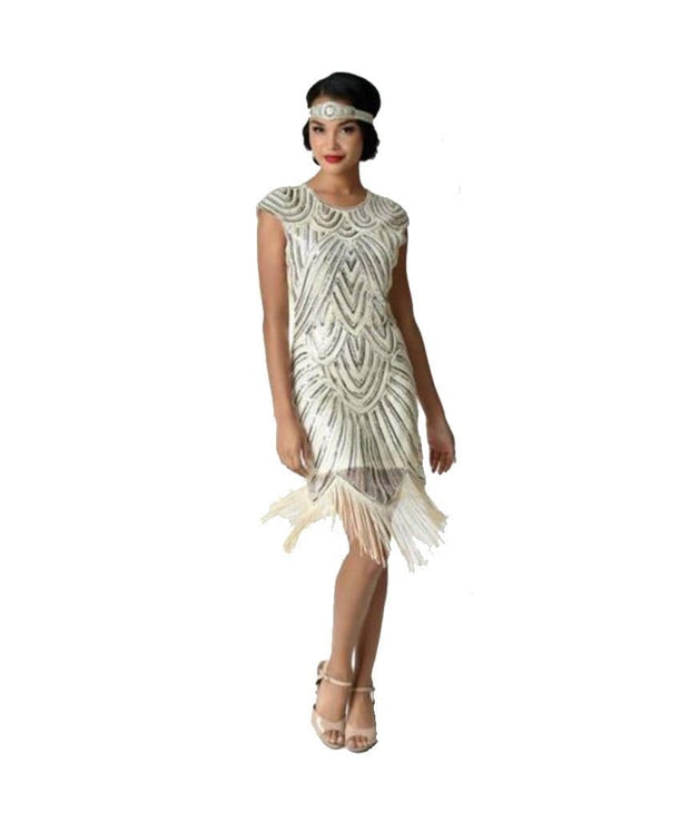 Vintage Cream & Silver Lucie Fringe Flapper Dress, Dress, harrietr,- REHEART Canadian Online Wardrobe-Sharing Platform