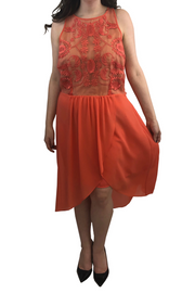 Coral Lace High-Low Dress