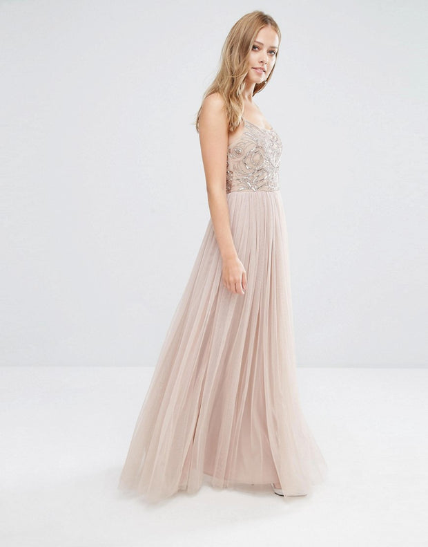 Maya Cami Strap Maxi Dress with Tulle Skirt and Embellishment, Dress, the_linette,- REHEART Canadian Online Wardrobe-Sharing Platform
