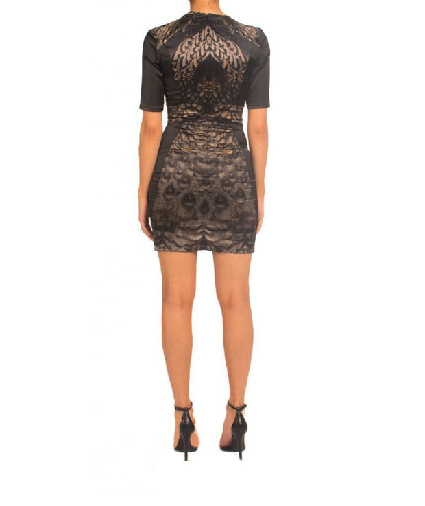 Feather Print Mini Dress, Dress, andreajamm,- REHEART Canadian Online Wardrobe-Sharing Platform