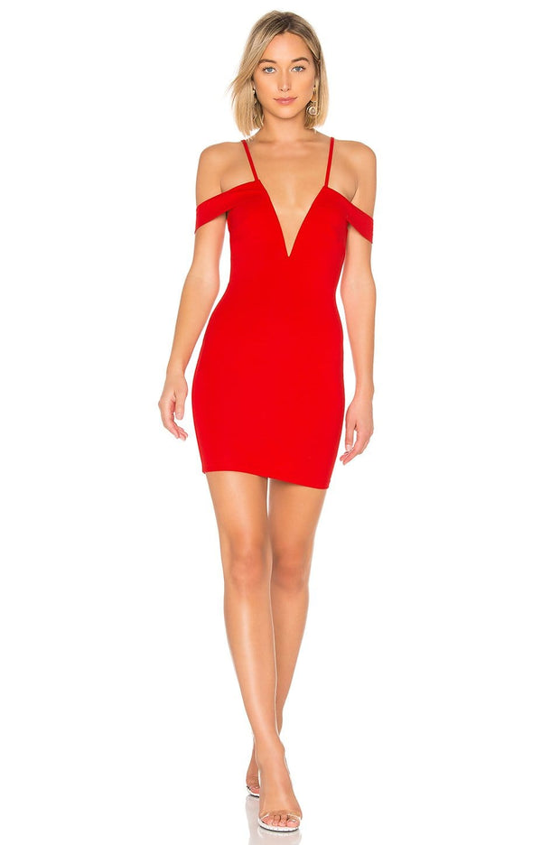 Avril Deep V Cherry Cut Out Dress - REHEART 💜 Canadian Online Wardrobe-Sharing Platform