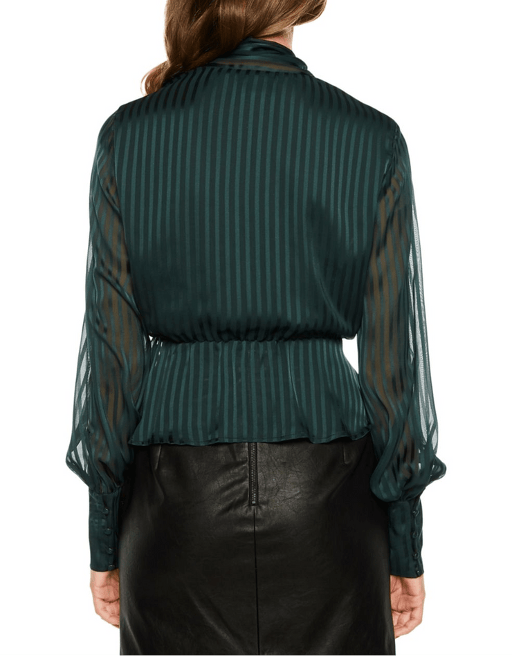 Shadow Stripe Peplum Blouse, Tops, Kelly,- REHEART Canadian Online Wardrobe-Sharing Platform