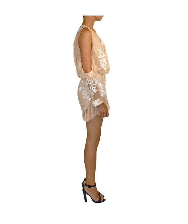 Chelsea White & Nude Romper - Boro Dress Rentals