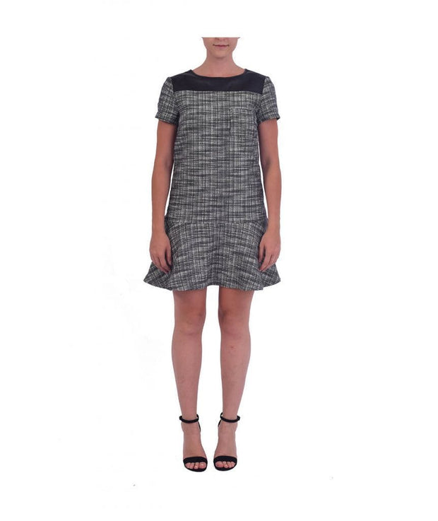 Tweed Pattern Faux Leather Trimming Dress, Dress, BlareJune,- REHEART Canadian Online Wardrobe-Sharing Platform
