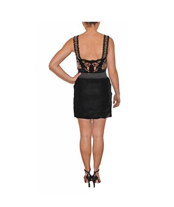 Embellished Black Velvet Bodycon, Dress, vicbaldesarra,- REHEART Canadian Online Wardrobe-Sharing Platform
