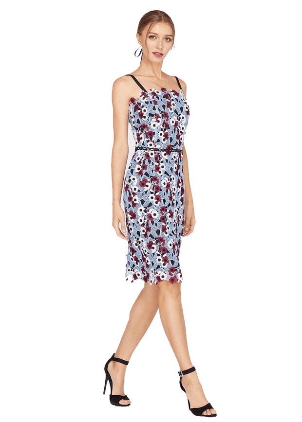 Harlow Lace Sheath Dress in Blue-Wine - REHEART 💜 Canadian Online Wardrobe-Sharing Platform