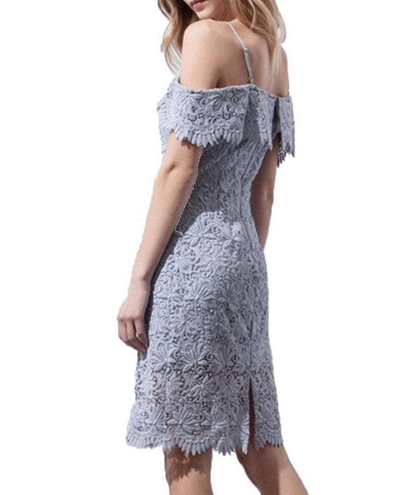 Floral Lace Cold Shoulder Dress - REHEART 💜 Canadian Online Wardrobe-Sharing Platform