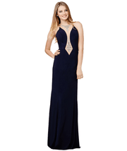 Plunging Jeweled Navy Gown