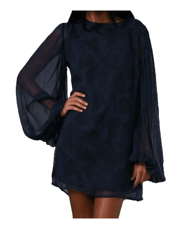 Long Sleeve Navy Silk Dress, Dress, naturallycaroline,- REHEART Canadian Online Wardrobe-Sharing Platform