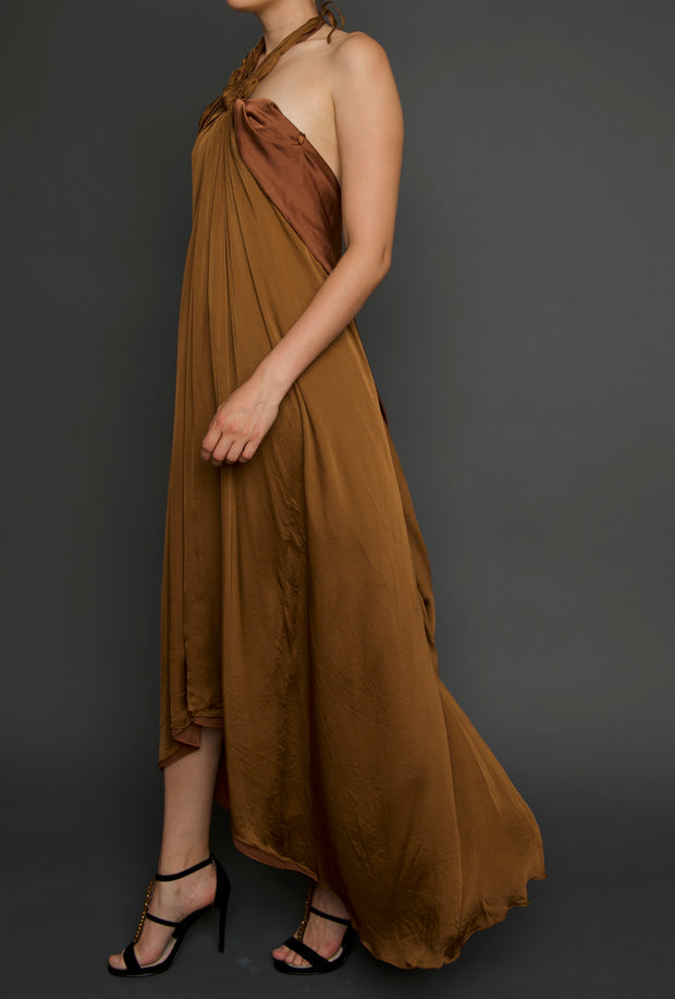 Silk Copper Halter Dress, Dress, islanoir,- REHEART Canadian Online Wardrobe-Sharing Platform