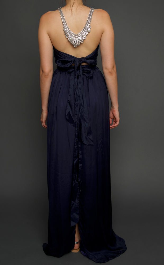 Navy Silk Swarovski Crystals Gown, Dress, islanoir,- REHEART Canadian Online Wardrobe-Sharing Platform