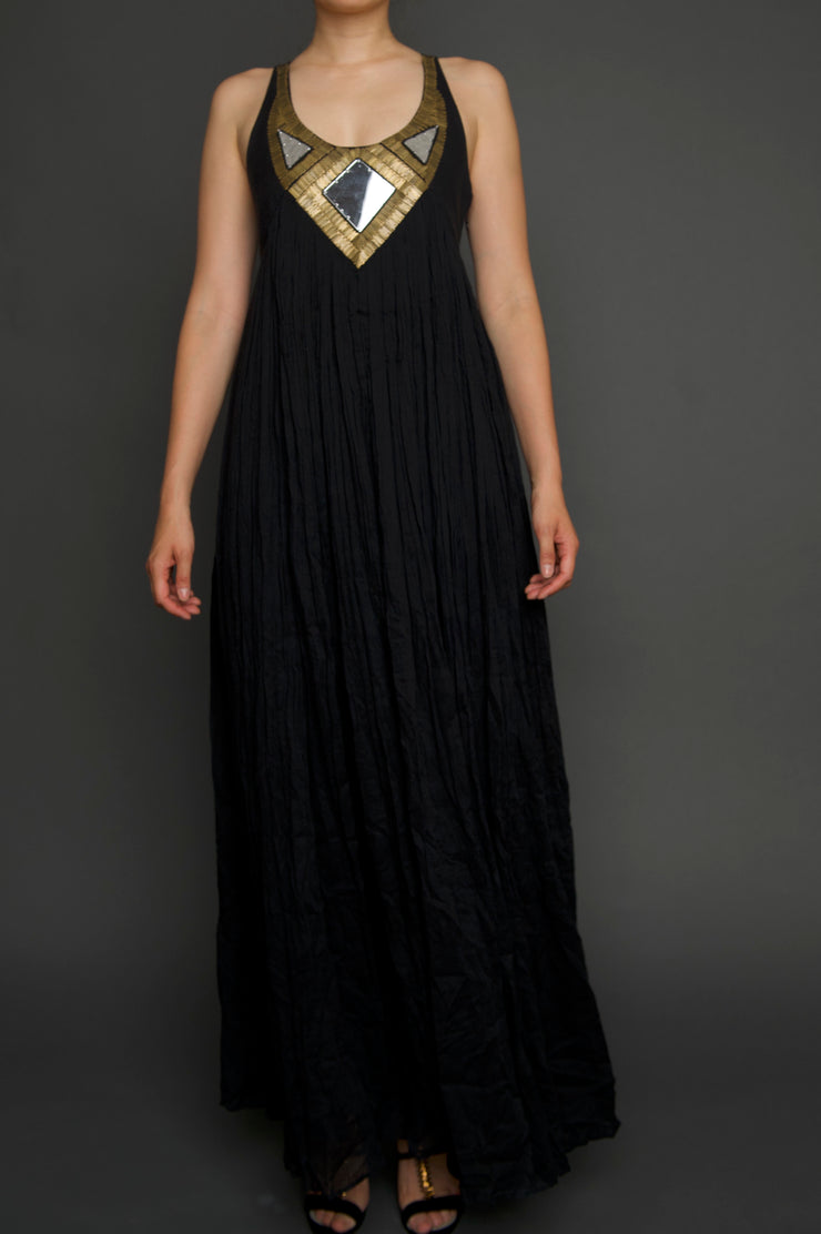 Mirrored Gold & Black Maxi Dress, Dress, islanoir,- REHEART Canadian Online Wardrobe-Sharing Platform