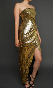 Gold Sequin Maxi Dress, Dress, islanoir,- REHEART Canadian Online Wardrobe-Sharing Platform