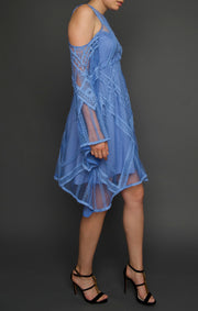 Sky Blue Bell Sleeved Lace Dress, Dress, islanoir,- REHEART Canadian Online Wardrobe-Sharing Platform