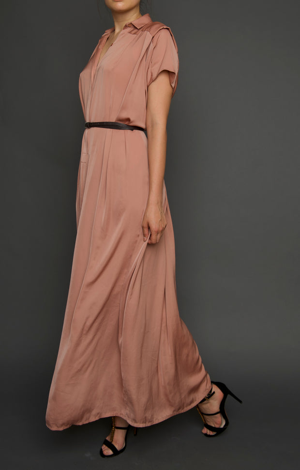Silk Blush Pink Shirt Maxi Dress, Dress, islanoir,- REHEART Canadian Online Wardrobe-Sharing Platform