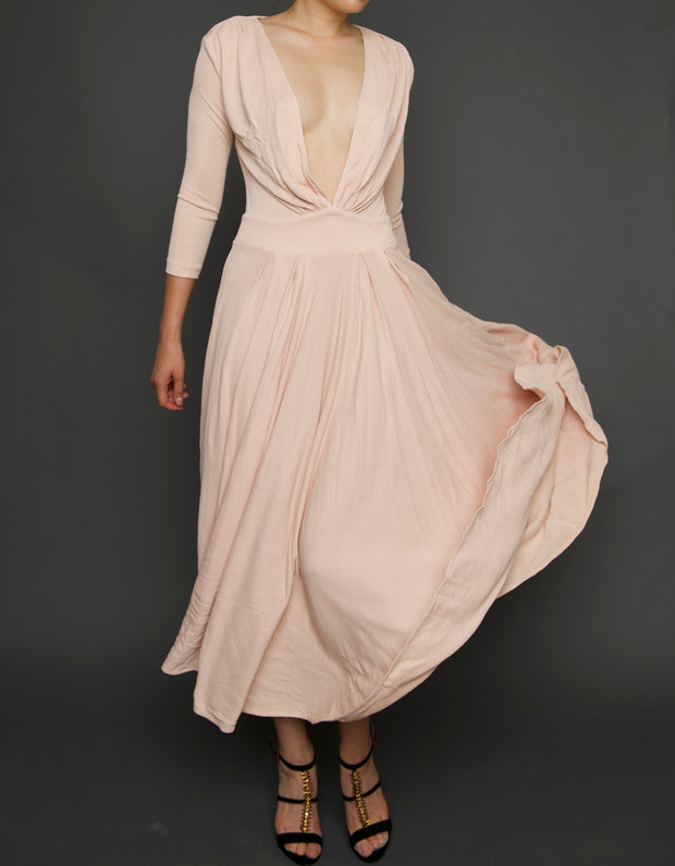 Blush Deep V Draped & Pleated Midi, Dress, islanoir,- REHEART Canadian Online Wardrobe-Sharing Platform