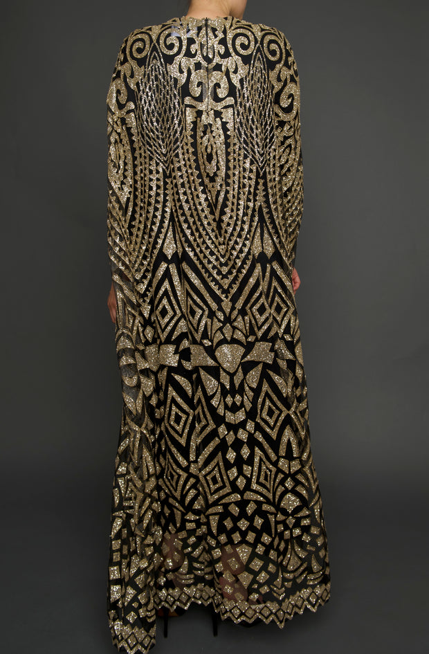 Black & Gold Glitter Cape Gown, Dress, islanoir,- REHEART Canadian Online Wardrobe-Sharing Platform