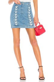 Lace Up Denim Skirt - REHEART 💜 Canadian Online Wardrobe-Sharing Platform
