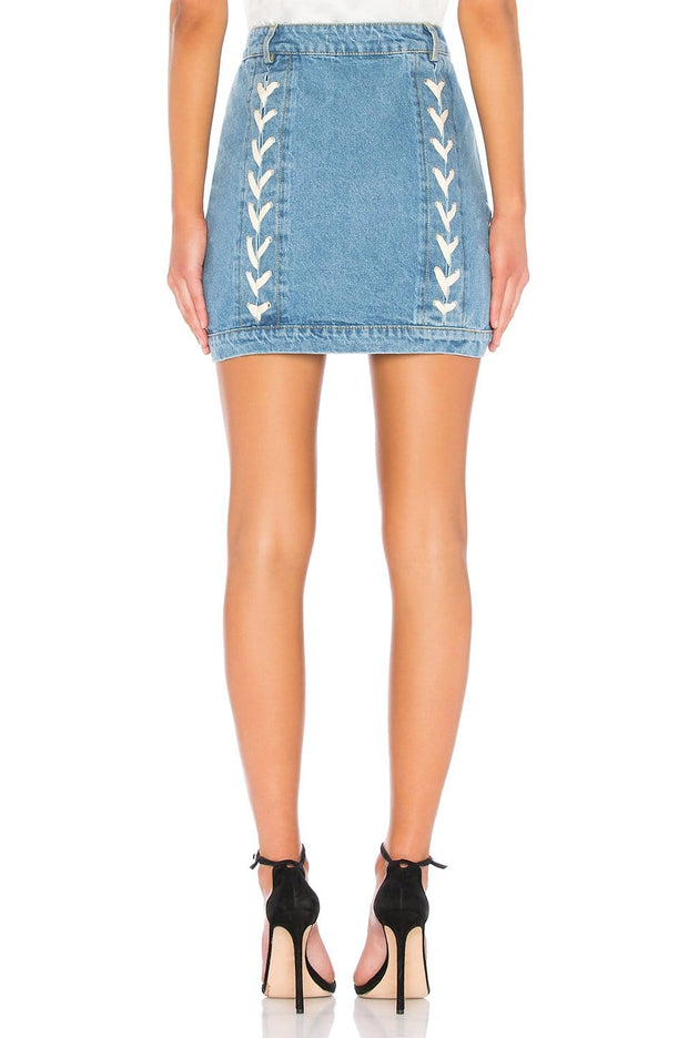 Lace Up Denim Skirt, Skirt, vbelegrinis,- REHEART Canadian Online Wardrobe-Sharing Platform
