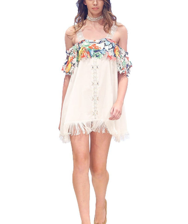 Off The Shoulder Floral Mini, Dress, lacedsilk,- REHEART Canadian Online Wardrobe-Sharing Platform